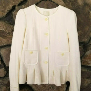 Anthropologie Elevenses Sz 4 Cream Wool Coat Jacke